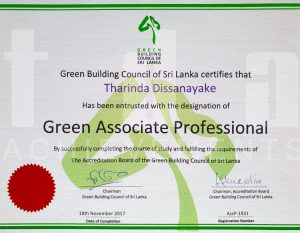 Architect Tharinda Dissanayake Green Building Council of Sri Lanka certificate